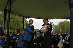 Band chairman Ray Pont with David Wright