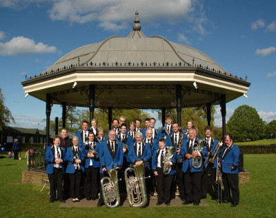 The band after our May bandstand concert on Godalming Bandstand, with MD James Haigh