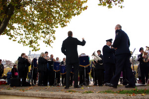 MD James Haigh conducts Godalming Band by the river