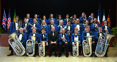Godalming Band before the Sunday night concert