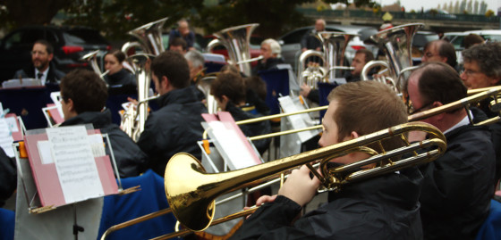 Trombone section in Joigny, France in October 2015