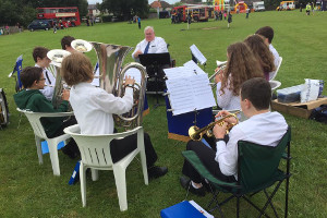 Godalming Youth Band playing out at Farncombe Fete