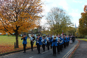 Godalming Band leading the Remembrance Sunday march (photo courtesy of Dave King)
