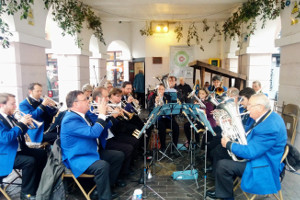 Godalming Band in the Pepperpot taking part in the Christmas Together festival