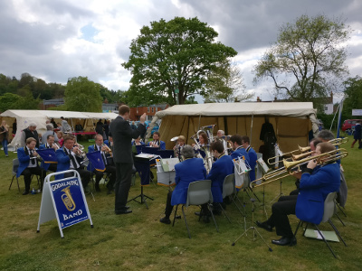 A full band at the Godalming Spring Fair