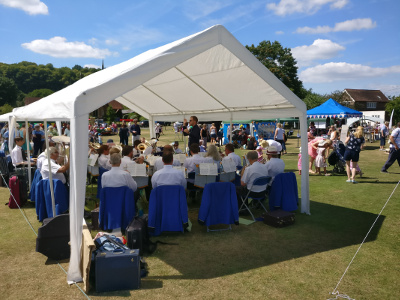 Godalming Band pictured at the Wonersh Fete, later followed by a Songs of Praise