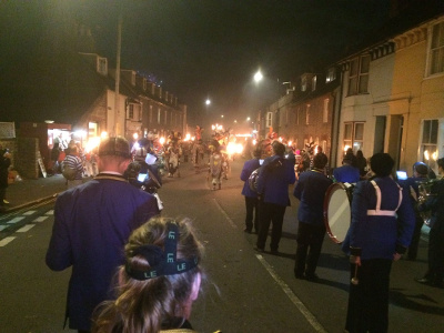 Forming up with the Lewes Borough Bonfire Society to march back to the centre of town