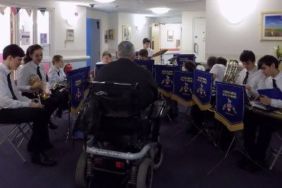 Youth Band visiting the residents at Eastlake Residential Home with some carols