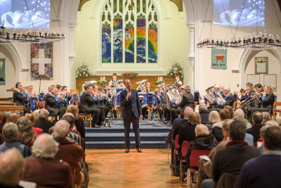 MD James Haigh with a vocal solo, Angelic Rhapsody, accompanied by Godalming Band