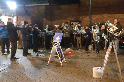 Carolling outside Waitrose just before Christmas, also with the Youth Band