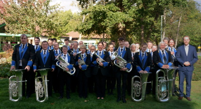 Godalming Band pictured outside The Hawth after playing in the B section