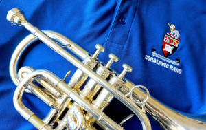 A cornet with a Godalming Band shirt