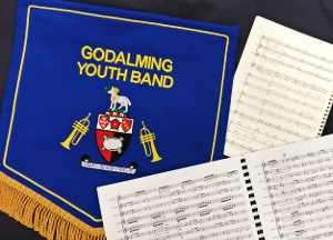 Godalming Youth Band banner and music